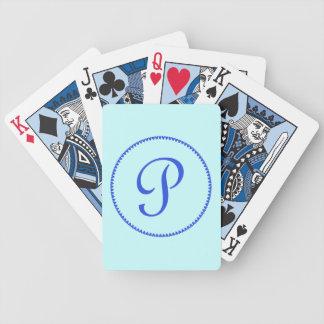 Monogram initial P blue hearts elegant stylish Bicycle Playing Cards