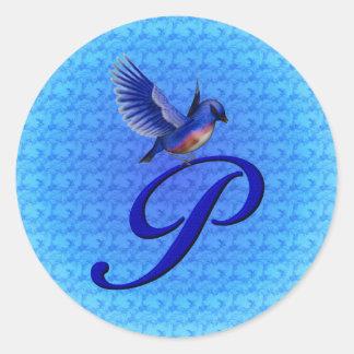 Monogram Initial P Elegant Bluebird Sticker