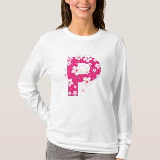 Monogram initial P pink floral design t-shirt
