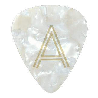 Monogram initial pearl gold add your own custom pearl celluloid guitar pick