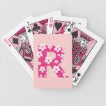 Monogram initial R pink floral, flowers hibiscus Card Deck