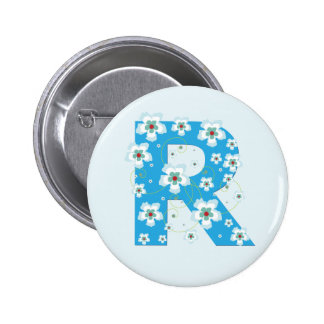 Monogram initial R pretty blue floral button, pin