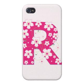 Monogram initial R pretty floral iphone 4 case