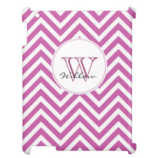 Monogram Initial Radiant Orchid Chevron Pattern Cover For The iPad 2 3 4