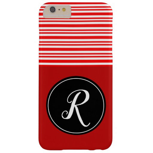 Monogram Initial Red White Candy Cane Colorful Barely There iPhone 6 Plus Case