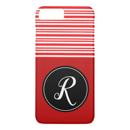 Monogram Initial Red White Candy Cane Colorful iPhone 8 Plus/7 Plus Case