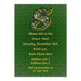 Monogram Initial S Daisies Green Floral Invite