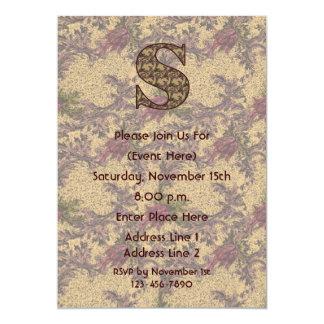 Monogram Initial S Elegant Floral Invite