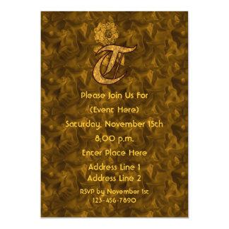 Monogram Initial S Gold Peony Elegant Invite