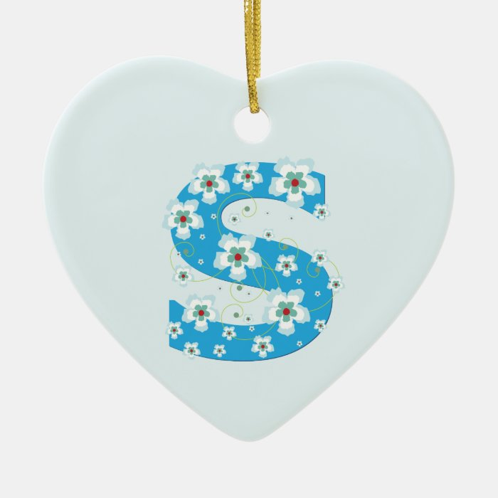 Monogram initial S pretty blue floral ornament