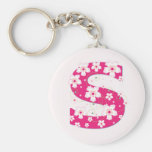 Monogram initial S pretty pink floral keychain