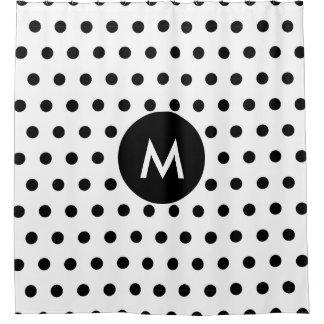 Monogram Initial Simple Black & White Polka Dots Shower Curtain