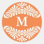 Monogram Initial Stickers ::Coral Rose - Orange