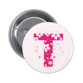 Monogram initial T pretty pink floral button, pin