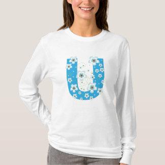 Monogram initial U blue floral design t-shirt