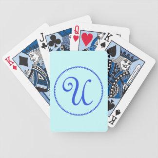 Monogram initial U blue hearts elegant stylish Bicycle Playing Cards