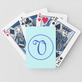 Monogram initial V blue hearts elegant stylish Bicycle Playing Cards
