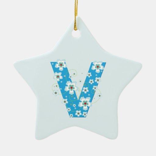 Monogram initial V pretty blue floral ornament