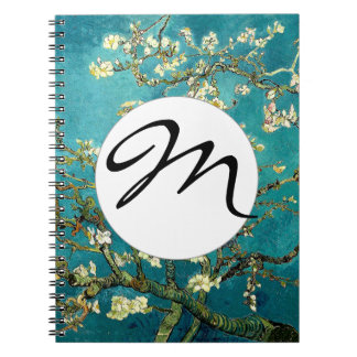 Monogram Initial Van Gogh Almond Blossoms Tree Spiral Notebook