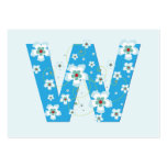 Monogram initial W blue floral business card