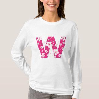 Monogram initial W pink floral design t-shirt