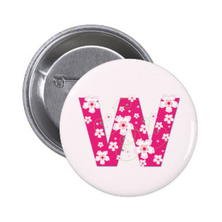 Monogram initial W pretty pink floral button, pin