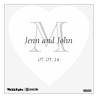Monogram Initial Wedding Heart Wall Decal