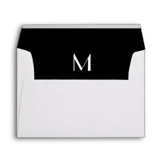 Monogram Initial White Envelope, Black Lined Envelope