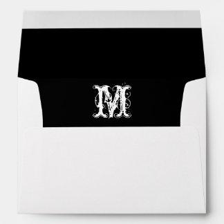 Monogram Initial White Envelope, Black Lined Envelope