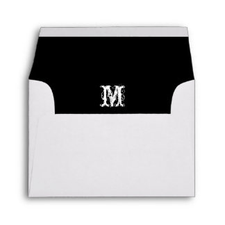 Monogram Initial White Envelope, Black Lined RSVP Envelope