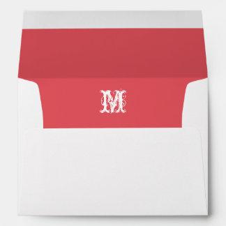 Monogram Initial White Envelope, Coral Lined Envelope