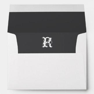 Monogram Initial White Envelope, Gray Liner Envelope