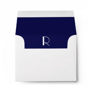 Monogram Initial White Envelope, Navy Liner RSVP Envelope