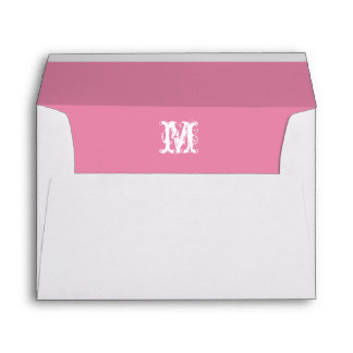 Monogram Initial White Envelope, Pink  Lined Envelope