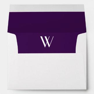 Monogram Initial White Envelope, Plum  Liner Envelope