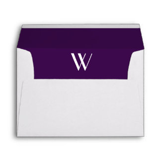 Monogram Initial White Envelope, Plum  Liner Envelope