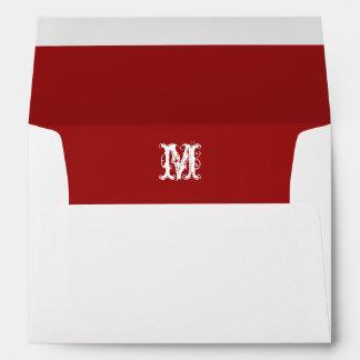 Monogram Initial White Envelope, Red Lined Envelope