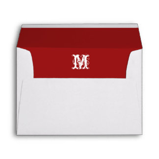 Monogram Initial White Envelope, Red Lined Envelopes