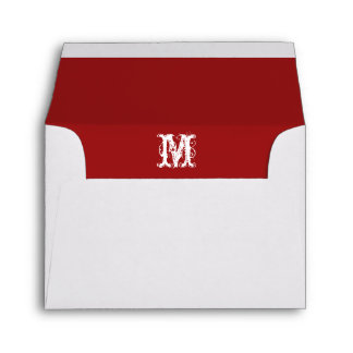 Monogram Initial White Envelope, Red Lined RSVP Envelope