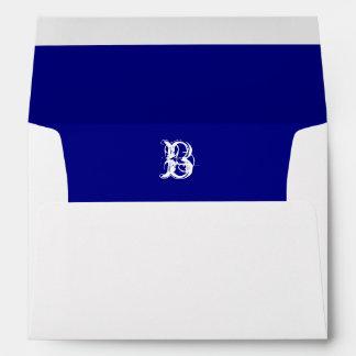 Monogram Initial White Envelope, Royal Blue Liner Envelope