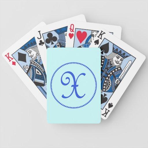 Monogram initial X blue hearts elegant stylish Playing Cards