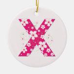 Monogram initial X pretty pink floral ornament
