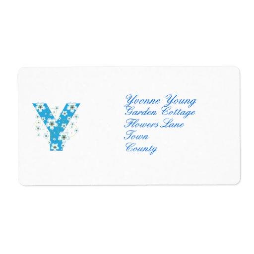 Monogram initial Y blue floral address labels