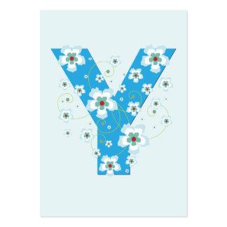 Monogram initial Y blue floral business card