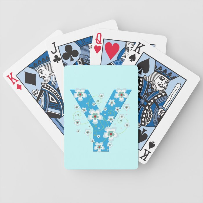 Monogram initial Y blue floral, flowers hibiscus Bicycle Playing Cards