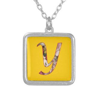 Monogram Initial Y Floral Design Necklace