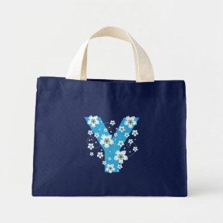Monogram initial Y floral flowery pretty tote bag