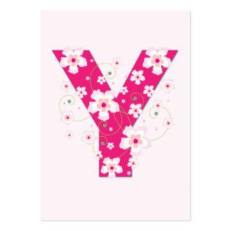 Monogram initial Y pink floral business card