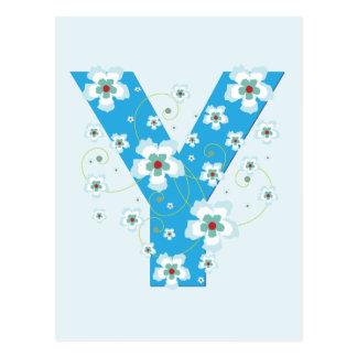 Monogram initial Y pretty blue floral postcard