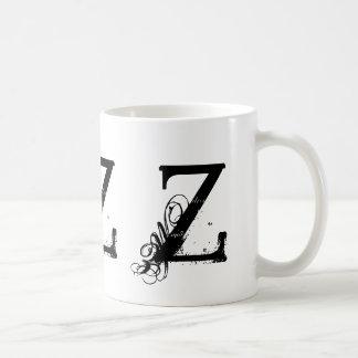 Monogram Initial Z Black & White Grunge Coffee Mug